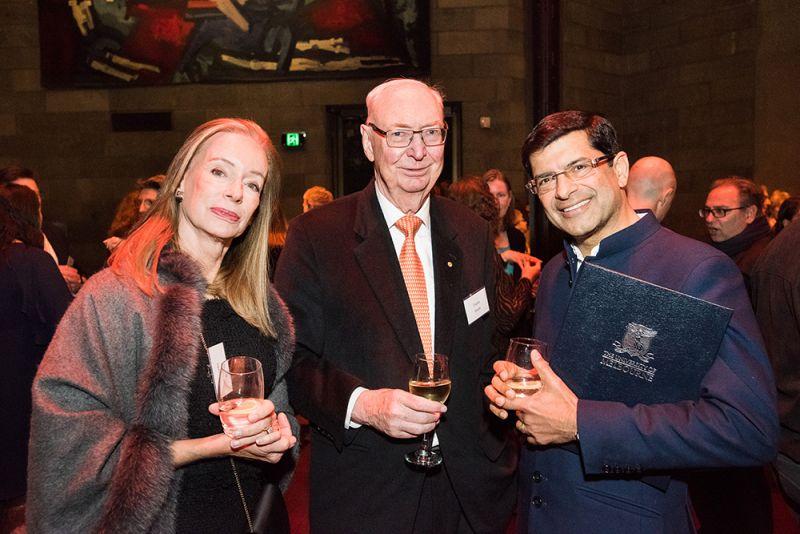 (L–R) Mrs Cornelia Goode, Dr Charles Goode AC and Prof Shitij Kapur
