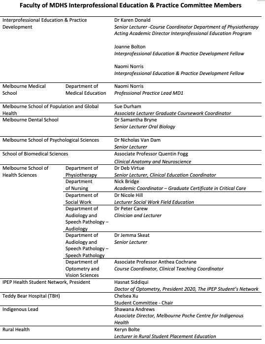 IPEP Committee table