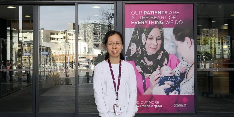 Dr Anna Zhu outside the Women's Hospital