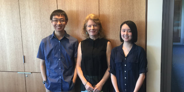 Students  Victor Lin (L) and Rachael Tong (R) with Dr Susan Keyes-Pearce (Centre)