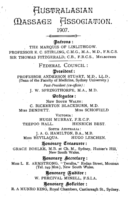 Frontispiece of the Rules of the Australasian Massage Association
