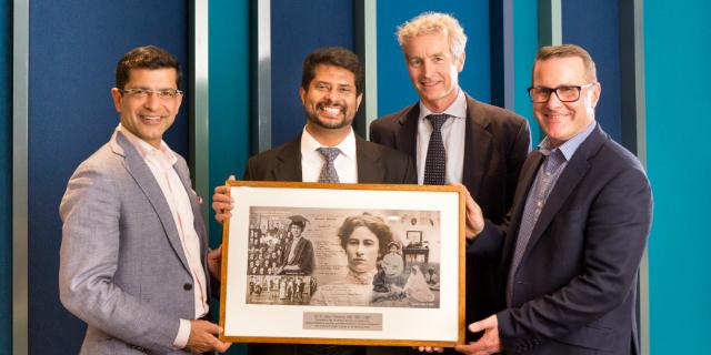 Professor Shitij Kapur, Fr Dr Mathew Abraham, Dr James Burt, My Toby hall